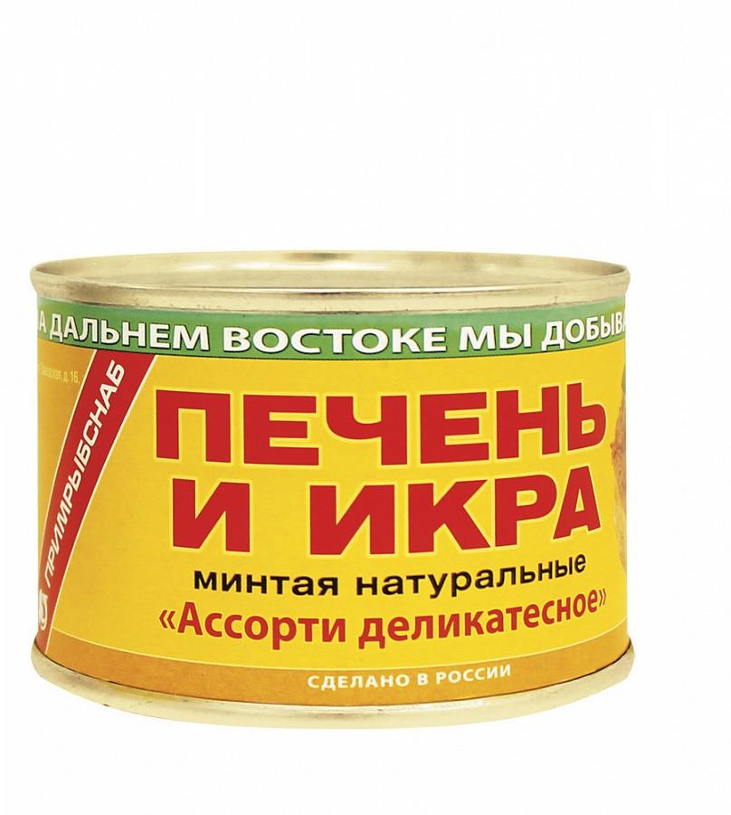 """Печень и икра минтая натуральные """"Ассорти деликатесное"""""""